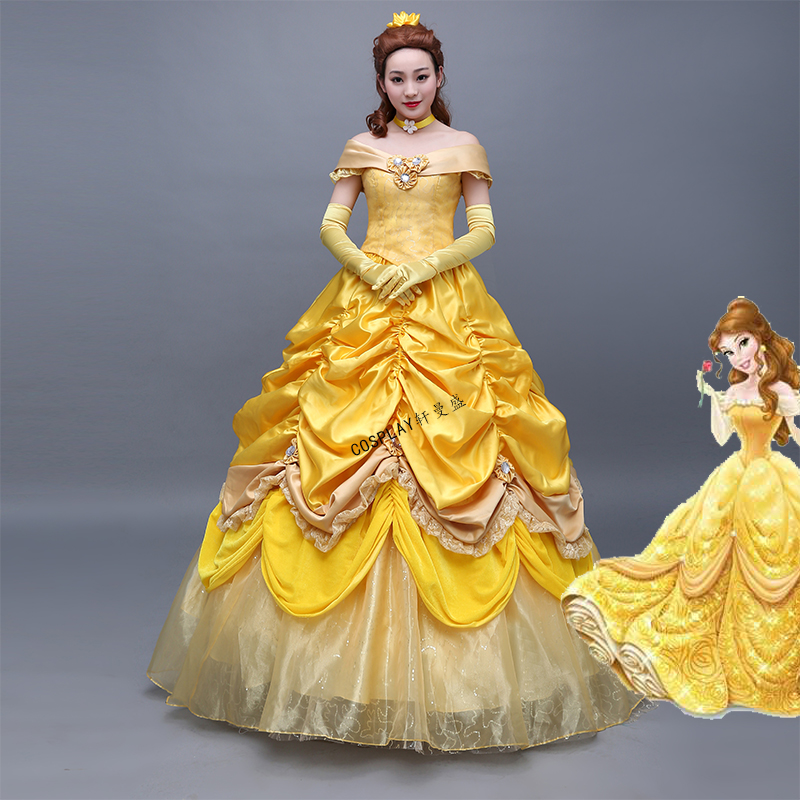 High Quality Customized Classic love film The Beauty And The Beast Princess Belle Fantastic Yellow long dress cosplay costumes