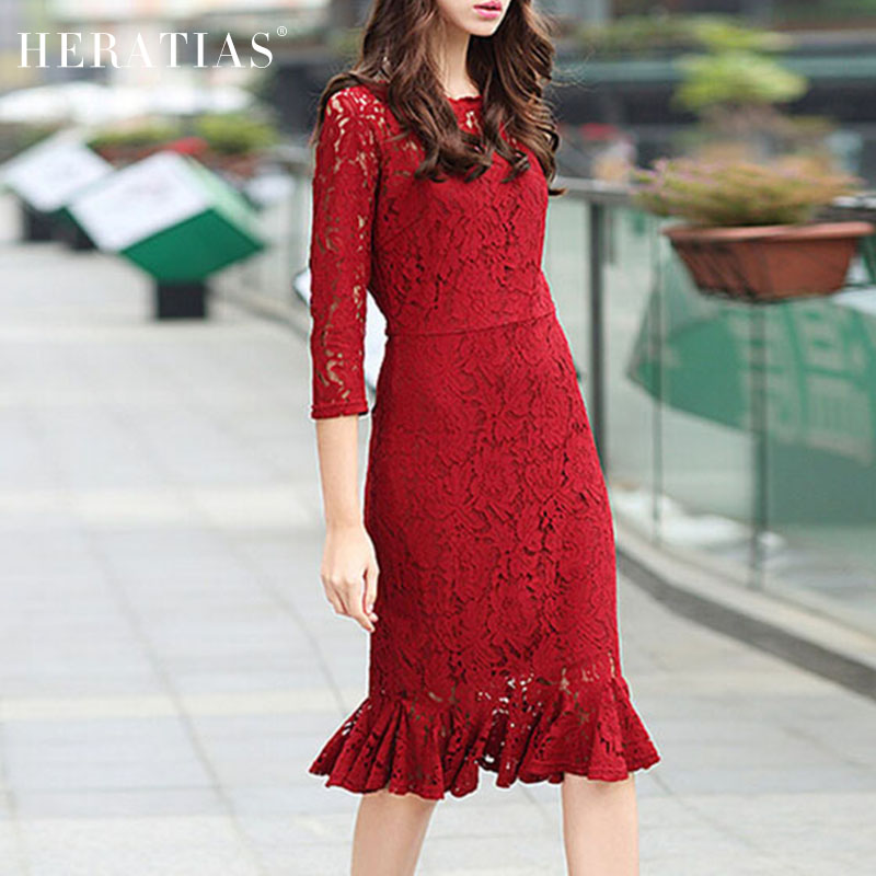 0b0bc4dc2286 New Elegant Women Red Lace Dress Summer Dress O-neck 3 4 Sleeve Hollow Out  Lace Ruffles Party Work Wear Silm Sheath Midi Dresses