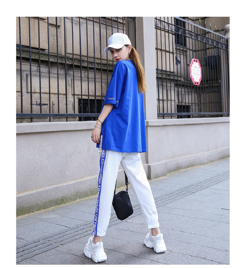 Real Shot Sports Suit Women 2019 New Style Summer Gangfeng Casual Loose Summer Students Web Celebrity Two Sets