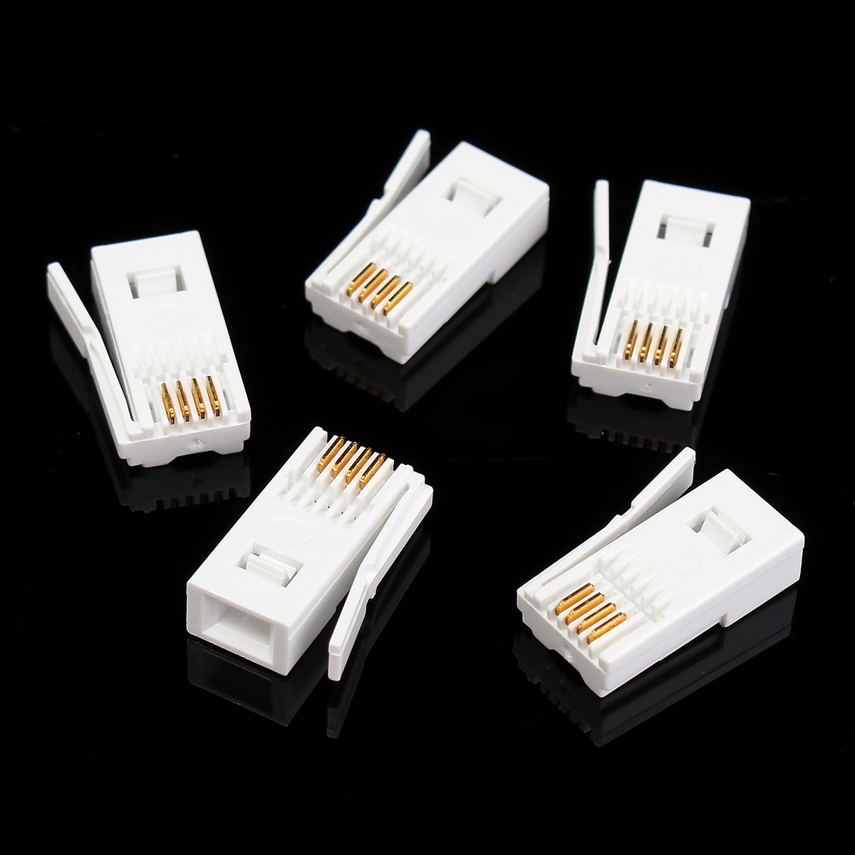 5pcs UK Telephone Crystal Head 6P4C RJ11 4-wire phone cord Telephone Wire Connector Panel Terminal For UK Phone