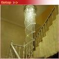 Nuevo y moderno led k9 araña de cristal de doble espiral superdensa araña de cristal de la lámpara de la escalera del hotel villa luces de cristal free ship