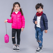 Winter jacket for boys girls 90% white duck down solid fashion warm hooded coat for children of 2 to 13 years kids outerwear new