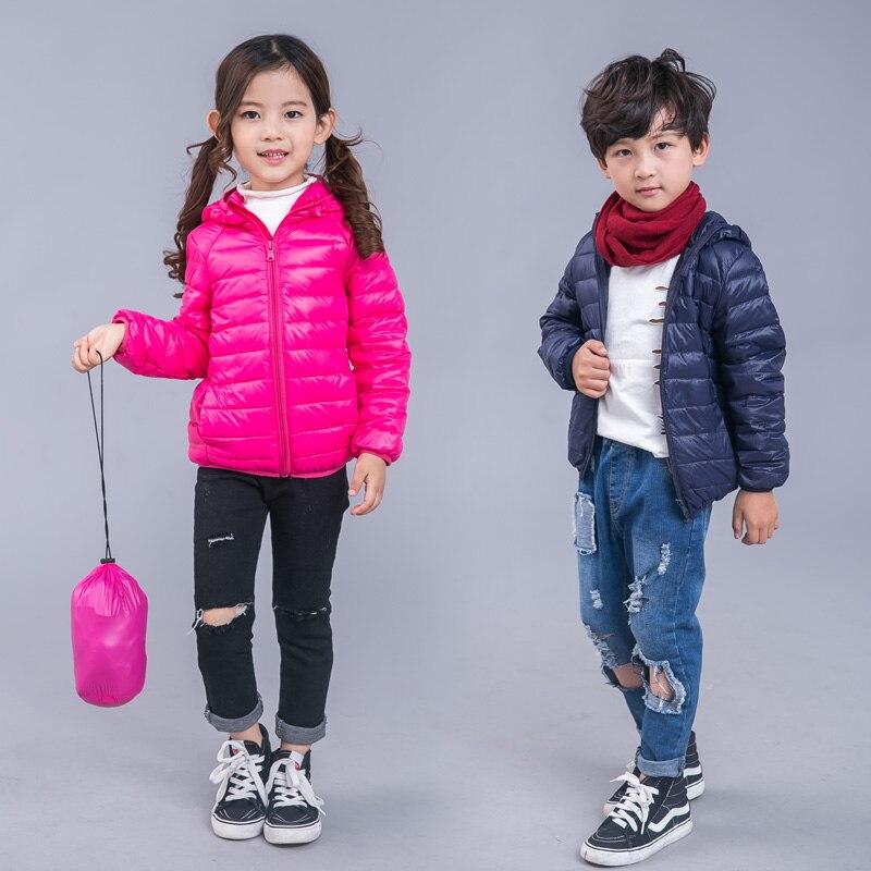 c7f401c3e Chaqueta de invierno para niños niñas 90% de pato blanco abajo sólido moda  cálida abrigo