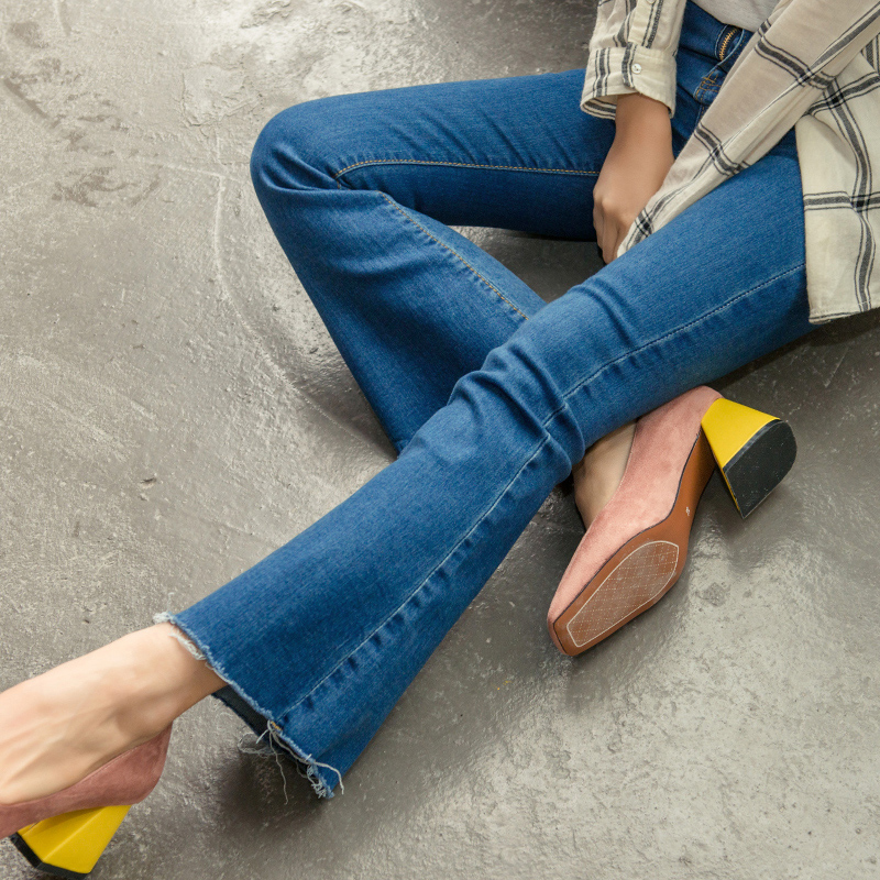 2017 Spring New Korean High Waist Flared Pants Women Jeans Fashion Slim Elastic Burrs Jeans Ladies Blue Classical Denim Pants