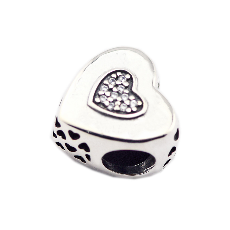 925 Sterling Silver Jewelry Heart to Heart Chamrs Original Fashion DIY Beads Fits Bracel ...