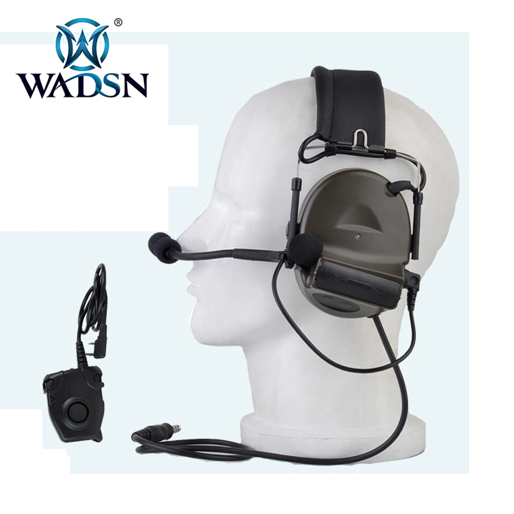 WADSN Airsoft Military Comtac II Aviation Headset With Peltor PTT Headphones Sports Softair Tactical headset WZ041 FG WZ112