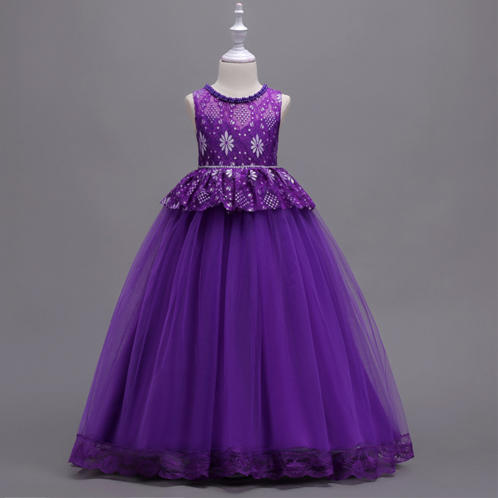 5 -16 Years Girls Tulle Full dresses Handmade beading Lace Princess long dress Frocks for Birthday wedding Party prom Costumes girls tulle tailing embroidery lace bow dress for wedding birthday party manual nail bead frocks costumes size 4 6 8 10 12 years