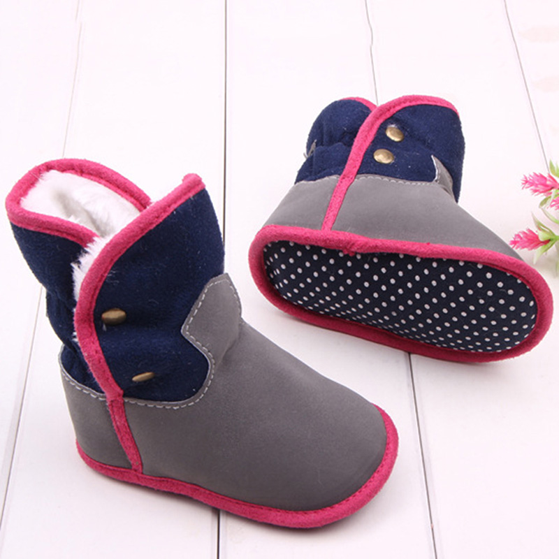 Fashion Winter Warm Shoes Baby Boy Girls Boots Toddler Shoes Anti-skid First Walkers