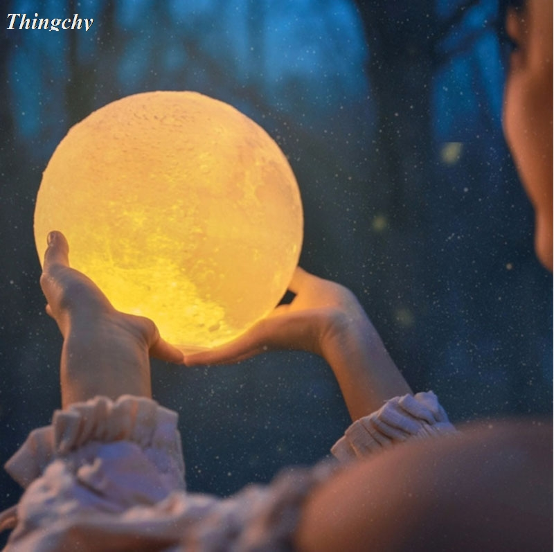 LED Night Light 3D Print Moon Lamp on/off switch Full Moonlight Portable Creative Baby Gift Lights For Home Decor led night light 3d print moon lamp luna magic touch full moonlight portable 2 colors change baby gift lights for home decor