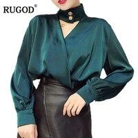 RUGOD 2018 Elegant Thiết Kế Nút Halter V Cổ Dài Đèn Lồng Áo Văn Phòng Phụ Nữ Lady Mặc Áo Sơ Mi Silk Satin Blusas Femininas