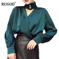 RUGOD 2018 Elegant Button Design Halter V Neck Long Lantern Blouse Women Office Lady Wearing Shirts