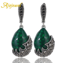Ajojewel Antique Jewelry Water Drop Stone Vintage Earrings Green Black CZ Drop Earrings Women Jewellery