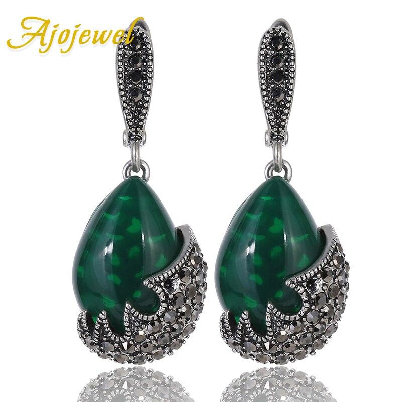 Ajojewel joyas antiguas Piedra en forma de gota de agua pendientes Vintage Verde Negro CZ gota pendientes joyería de las mujeres