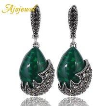 Ajojewel joyería antigua piedra de gota de agua pendientes Vintage Verde Negro CZ pendientes de gota joyería de las mujeres 2017