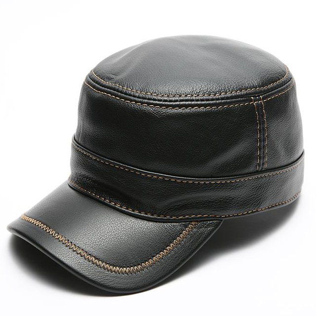 7248b3dcc Genuine leather baseball golf sport cap hat men's brand new leather army  military hats caps with