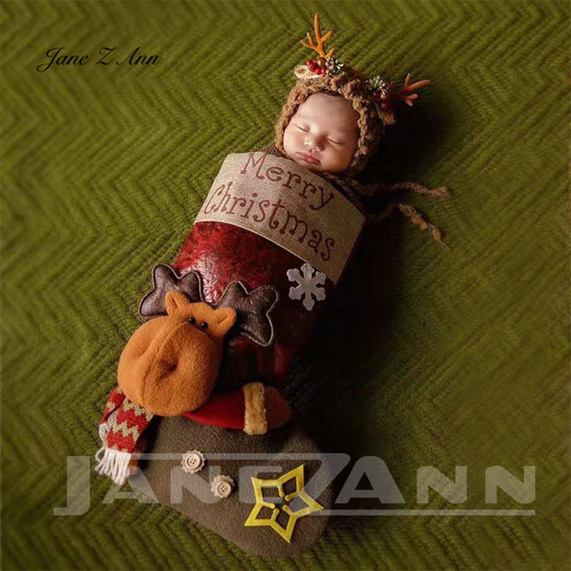 Jane Z Ann Baby photo costume newborn photo cartoon knitted handmade Christmas theme sleeping bag with hat studio accessories 2