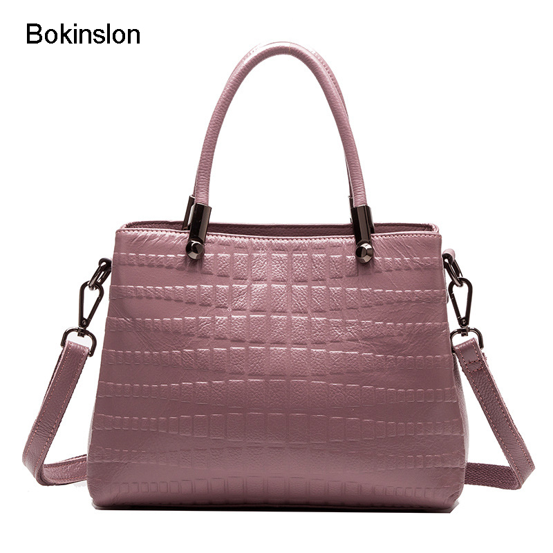 Bokinslon Shoulder Bags Woman Split Leather Popular Women Crossbody Bag Crocodile Pattern Fashion Ladies Handbags Bags new stylish patent leather women messenger bags women handbags crocodile shoulder bags for woman clutch crossbody bag 6n07 06