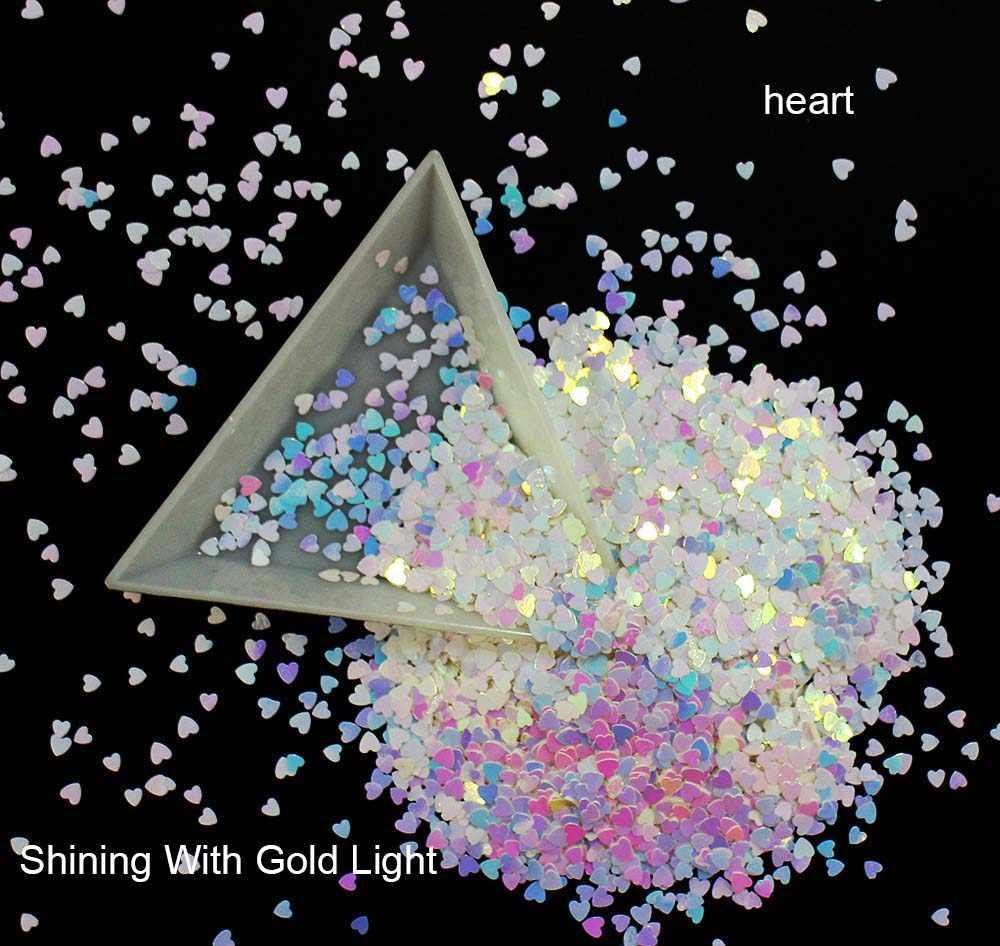10 г/упак., ромб/шестиугольник/Сердце/Круглый/треугольник/звезды блестки, переливчатая Радуга Сияющий ломтик 3D под блески для дизайна ногтей пайетками