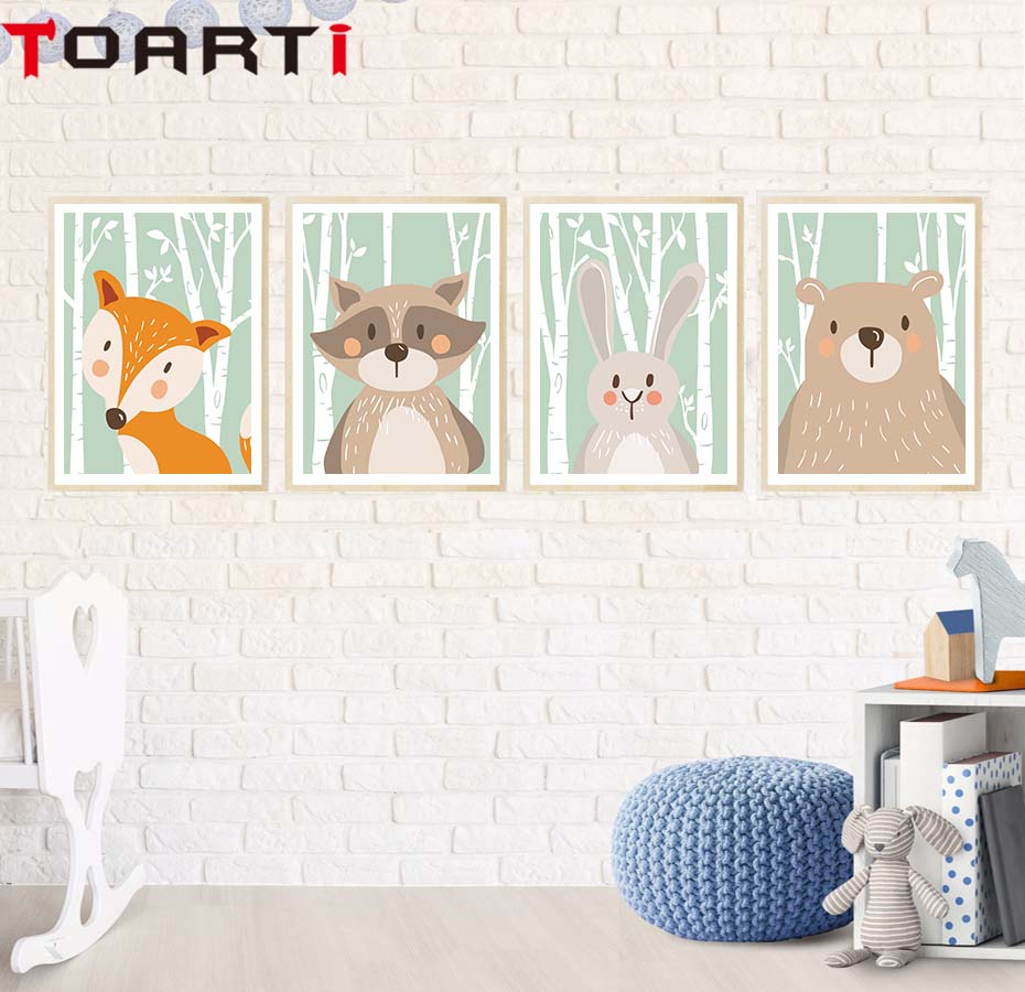 Bear Fox Kanin Canvas Målning vägg Konstaffisch Tryck Cartoon Woodland Animal Kid nursery Room Decor Moderna hemvägg Bild