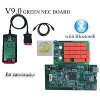Com o Original novo vci v9.0 verde-vermelho pcb Bluetooth TCS CDP pro obd2 Ferramenta De Diagnóstico para Carros TURCKs VD obd leitor de código de SCANNER