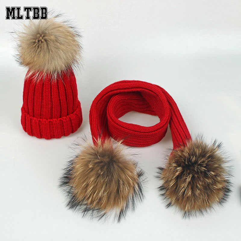 MLTBB Warm Winter Hat&Scarf Sets For Boys Girls 2 Pieces Set Kids Knitted Hairball Hat Scarf Hat Scarf Suit For Baby High Qualit