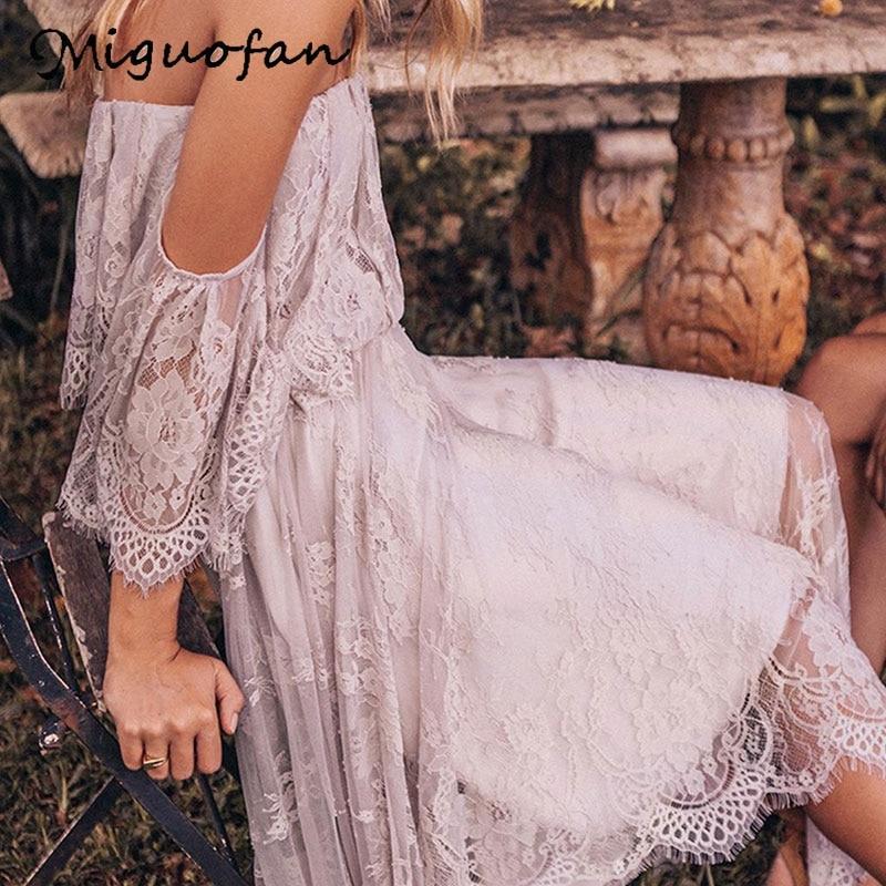 Miguofan Lace Dress Women Off The Shoulder Summer Midi Dress Elegant Plus Size Long Boho Dresses Female 2019 Summer Vestidos