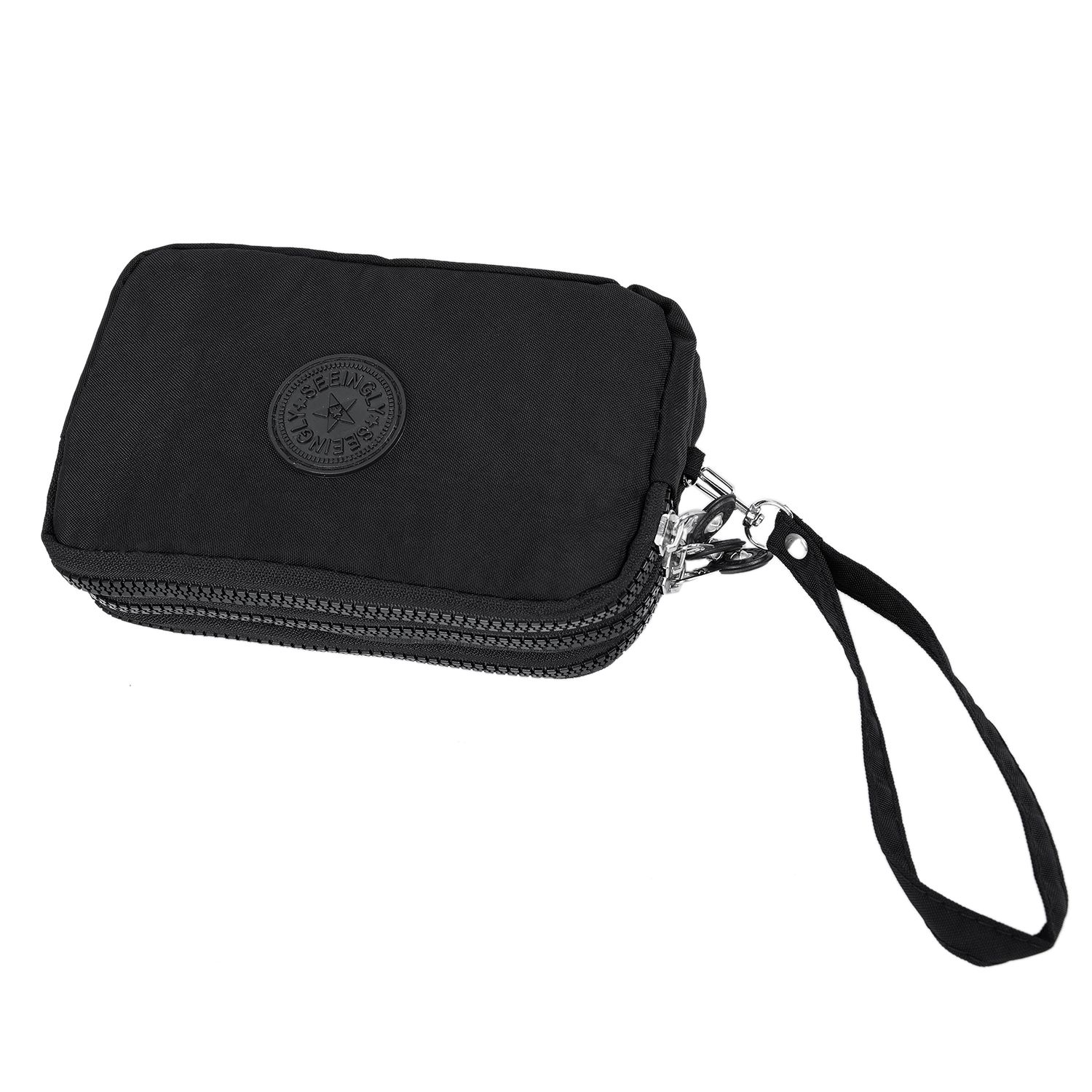Fashion Women Small Wallet Washer Wrinkle Fabric Phone Purse Three Zippers Portable Make Up bag