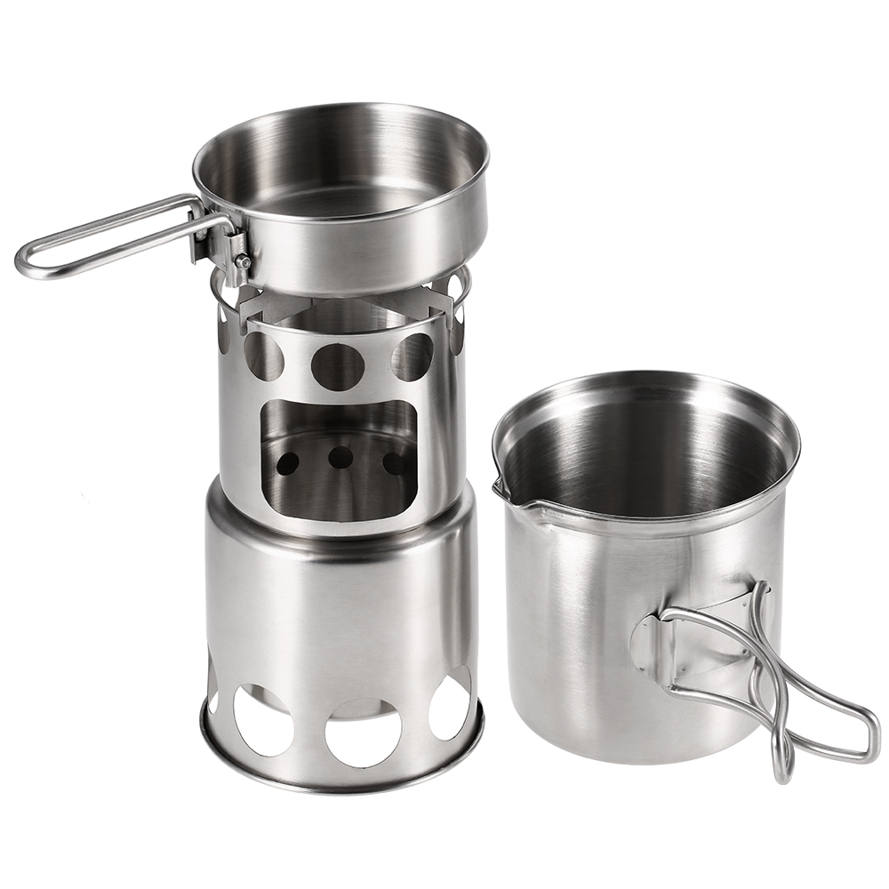 Outdoor Tablewares Outdoor Camping Cookware Set Wood Stove Cooking Pot Set Stainless Steel Tableware Folding Cookware For Backpacking Fishing New Camping & Hiking