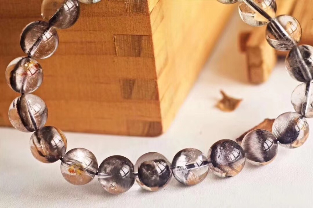 Natural Brookite Platinum Silver Rutilated Quartz Bracelet  (4)