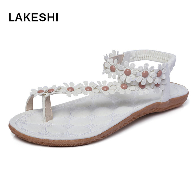 Flower Women Sandals Fashion Women Flat Sandals Summer Shoes Ladies Sandals