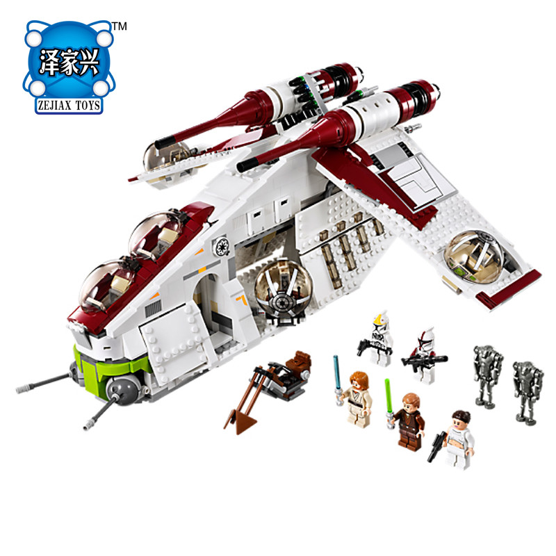 2018 Genuine Star Space War Series The The Republic Gunship Set Educational Lepines Building Blocks Bricks Figures KID Toys Gift цена