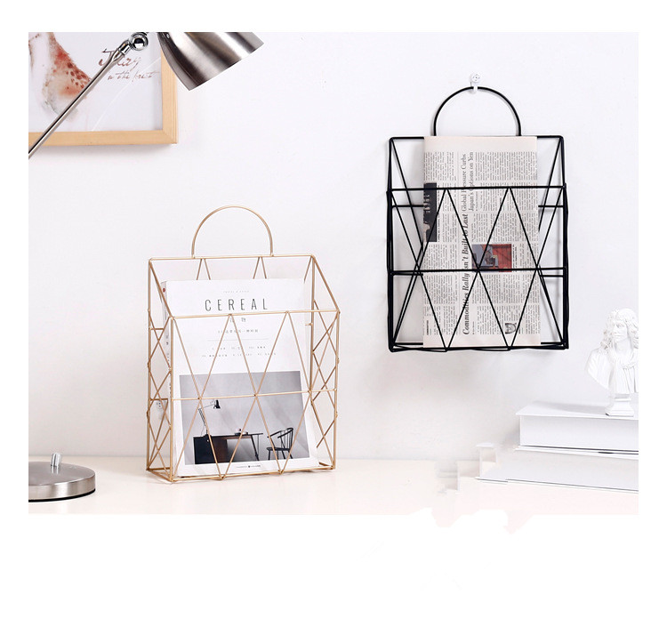 Bathroom Fixtures Reliable 1pc Metal Basket Wall-mounted Nordic Ins File Book Rack Newspaper Magazine Rack Display Stand Holder Shelf Storage Container Bathroom Shelves