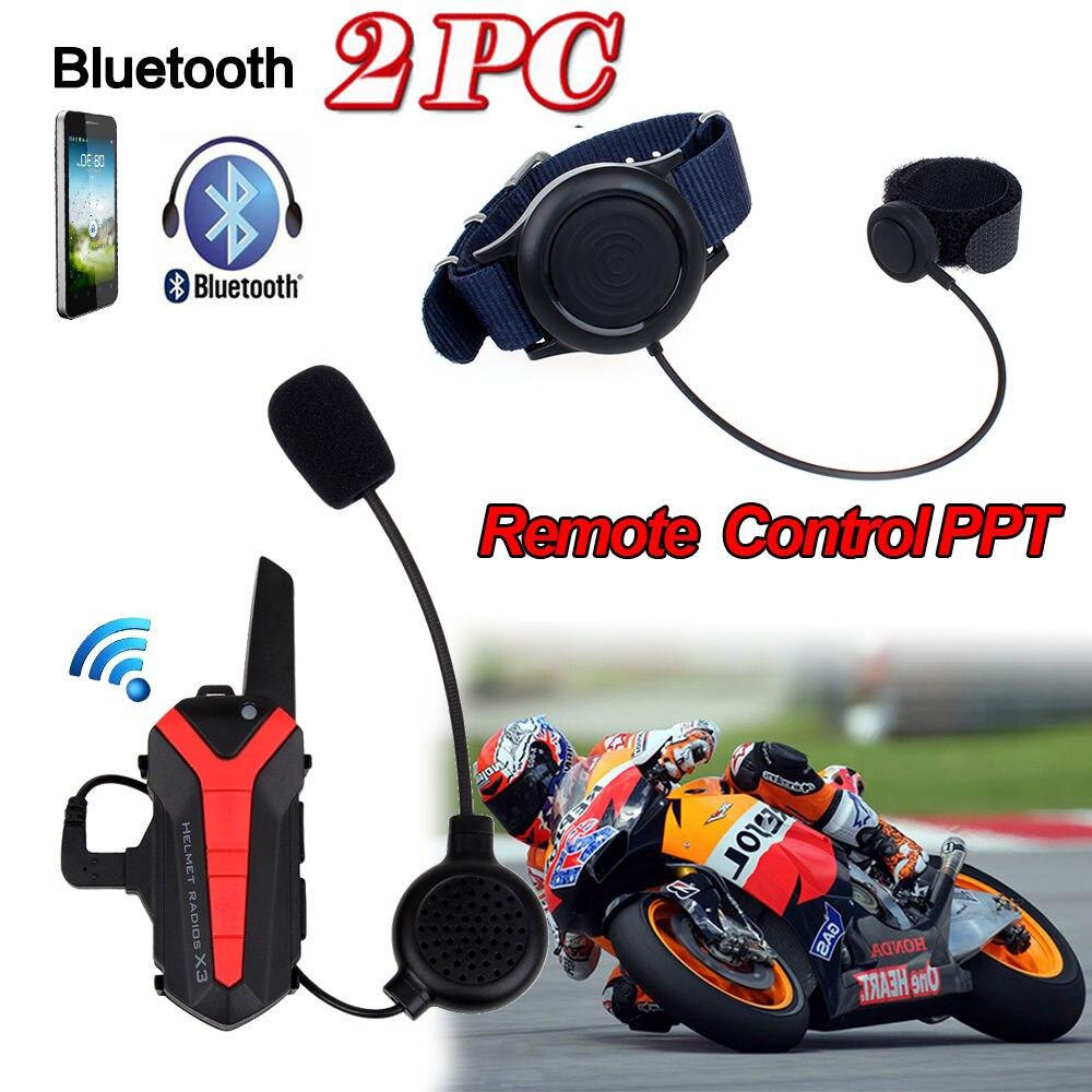 2 Pcs X3 Plus Motorcycle Bicycle Intercom Bluetooth Helmet Headset Intercom 3KM Group Walkie Talkie PTT Control