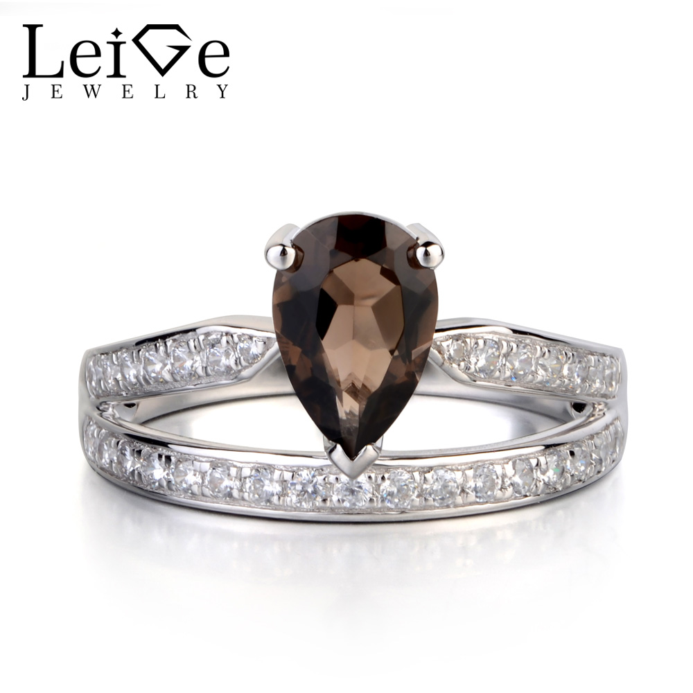 Leige Jewelry Pear Cut Natural Smoky Quartz Ring Sterling Silver 925 Fine Jewelry Tear Drop Wedding Engagement Rings for WomenLeige Jewelry Pear Cut Natural Smoky Quartz Ring Sterling Silver 925 Fine Jewelry Tear Drop Wedding Engagement Rings for Women