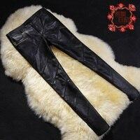 Большие Размеры Мода Женская Натуральная кожа Штаны, элегантные брюки из овечьей кожи для девочек узкие брюки натуральная кожа леггинсы