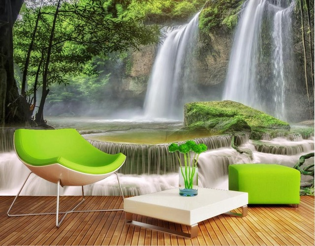 3d hermosa nueva 3d paredes de papel pintado cascada paisajes fondos de pantalla sala 3d papel - Papel pintado paisajes ...
