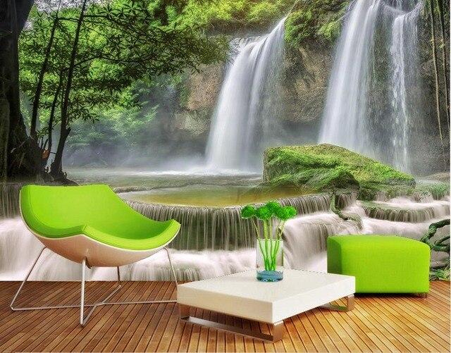 3d hermosa nueva 3d papel pintado paredes cascada paisajes wallpapers sal n 3d murales de papel - Papel pintado paisajes ...