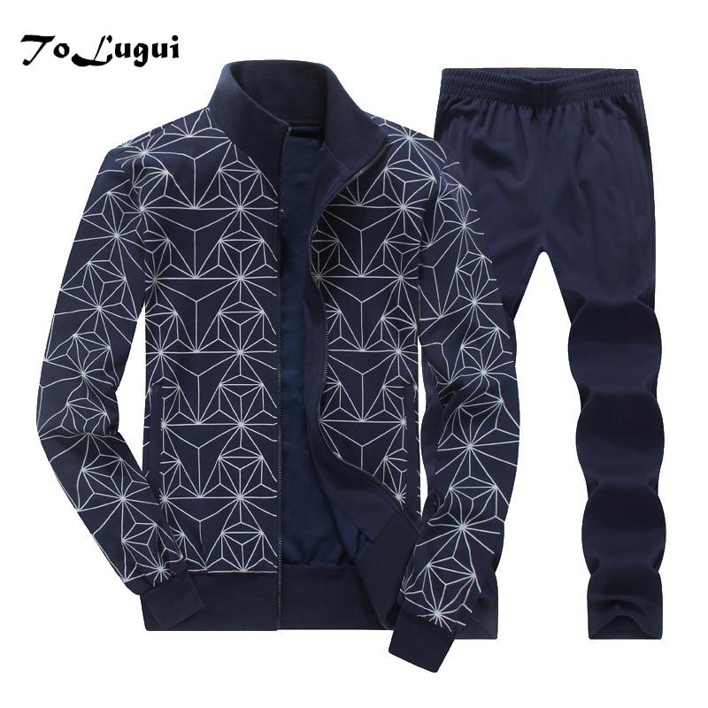 Men Tracksuit 2019 Spring Autumn New Fashion Plus Size 8XL Sports Suit Casual Men Jacket+Pant Sportswear Two Piece Sets Clothing