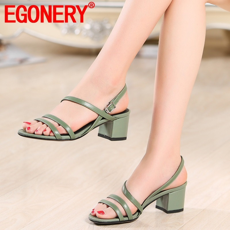 EGONERY woman shoes 2019 summer new fashion open toe mid heels high quality genuine leather woman