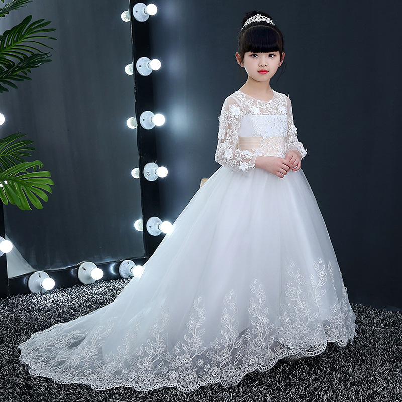 Здесь продается  Lace Birthday Girl Princess Dress White Ball Gown Flower Girl Dresses Appliques Trailing Kids Pageant Dress Long Sleeve Gowns  Детские товары