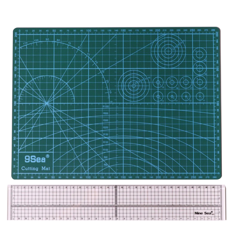 1 Pcs A4 Cutting Mat + 1 Pcs 5 * 30cm Patchwork Cutting Ruler Combination Student School Home DIY Hand Tailor Sewing Tools