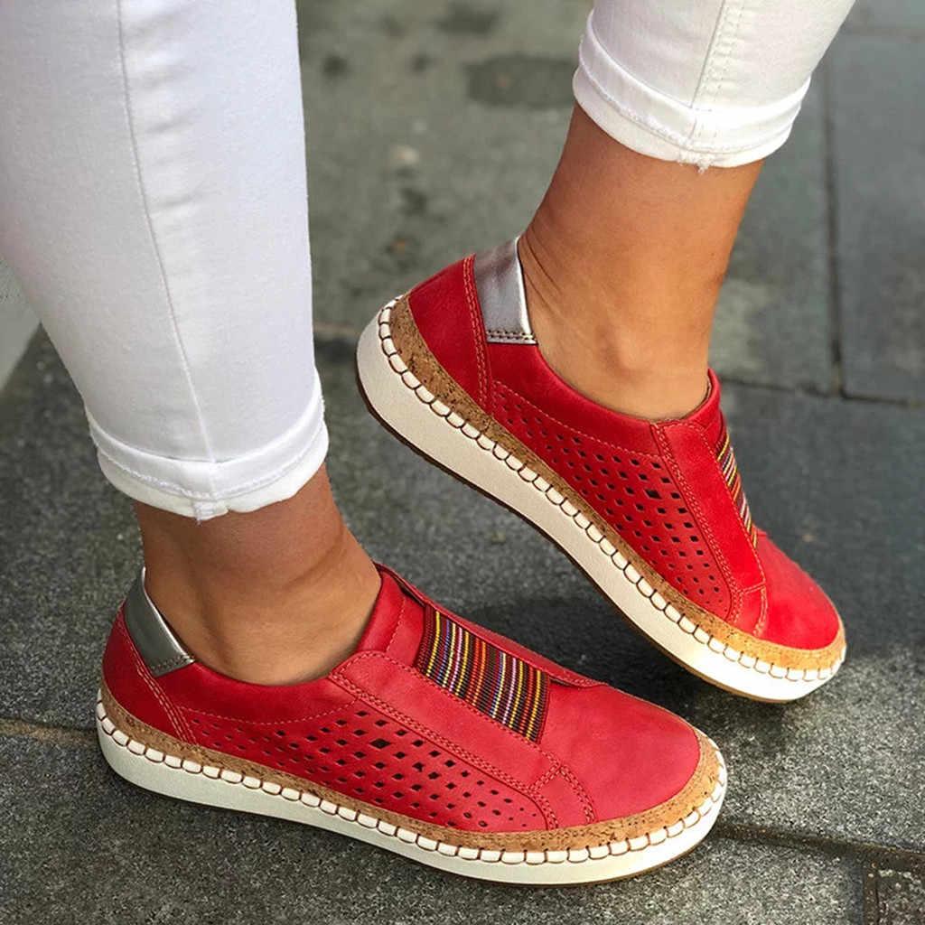 รองเท้าสตรีแฟชั่น Hollow-OUT รอบ Toe SLIP บนรองเท้าแบนรองเท้าผ้าใบหญิงนุ่ม Breathable ฤดูร้อนรองเท้า C40 #