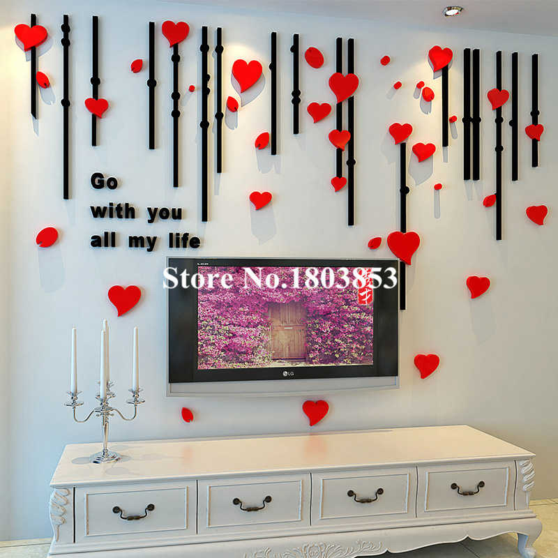 Enjoyable 3D Stereoscopic Creative Acrylic Home Decor Wall Stickers Living Room Tv Love Marriage Room Backdrop Sticker Wedding Decoration Interior Design Ideas Helimdqseriescom