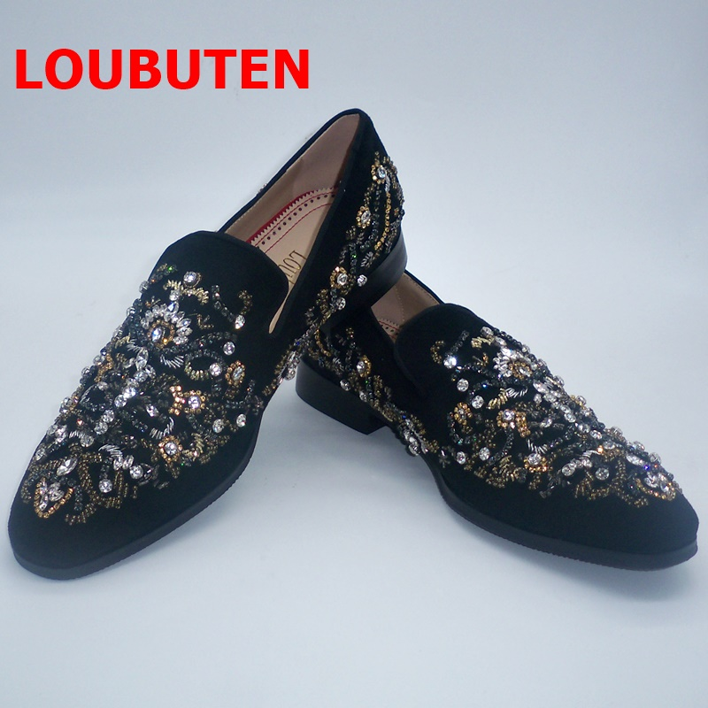 ⌐PromoteLOUBUTEN Mens Shoes Rhinestone Luxury Slip-On Suede Black Crystal And Loafers Handmade≡