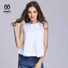 MUMUZI 2017 Sleeveless Top Women Summer Women's Blouses Tops Blue Striped Ruffle Trim Stand collar Sleeveless Blouse