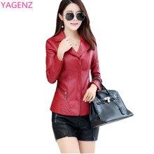 YAGENZ Fashion Women Leather Jacket Autumn New PU Female Long-sleeved Short Section Zipper Large Size Womens clothing Jacket A19