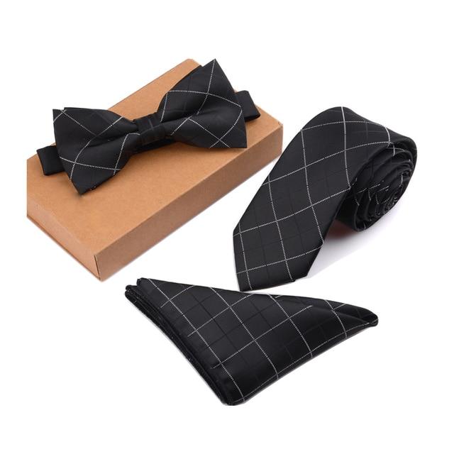 GUSLESON Slim Tie Set Men Bow Tie and Pocket Square Bowtie Necktie Cravate Handkerchief Papillon Man Corbatas Hombre Pajarita