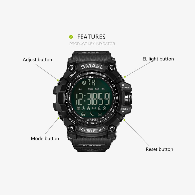 SMAEL Mens Chronograph Watches Sport Male Clock Stop Army Military Watch Men Multifunction Waterproof LED Digital Watch for Man 3