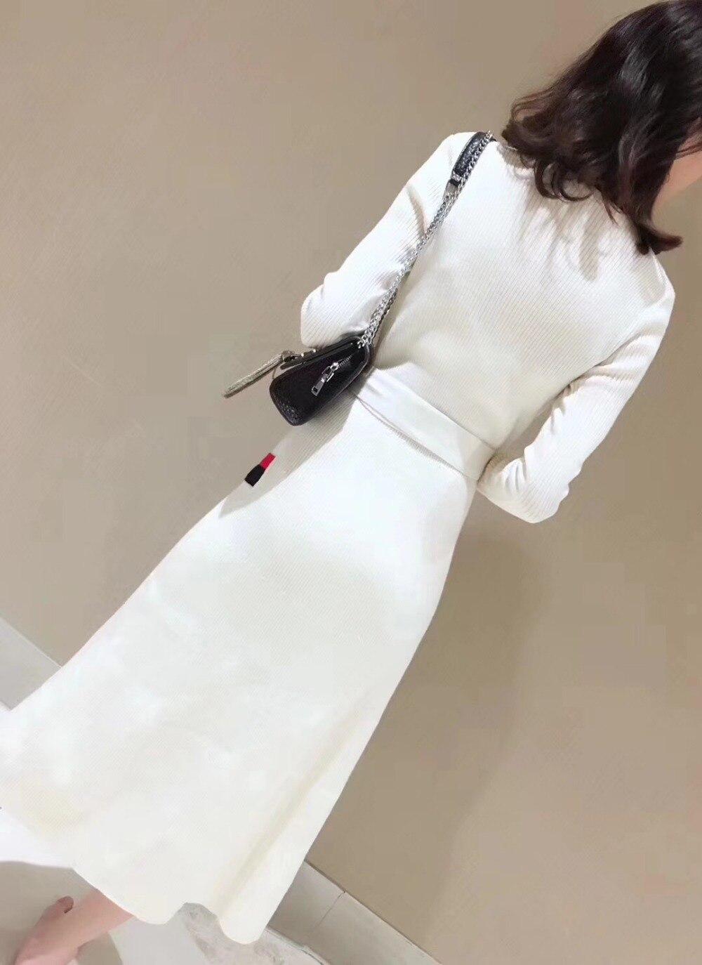 Sexy Longues 2018 Manches Cou À Trois Rayé Robe Vente Cardigans Automne Mode Couleurs Ceintures Chaude Nouvelle V Tricoté Pic as Pic As Femmes Moulante wOqSF