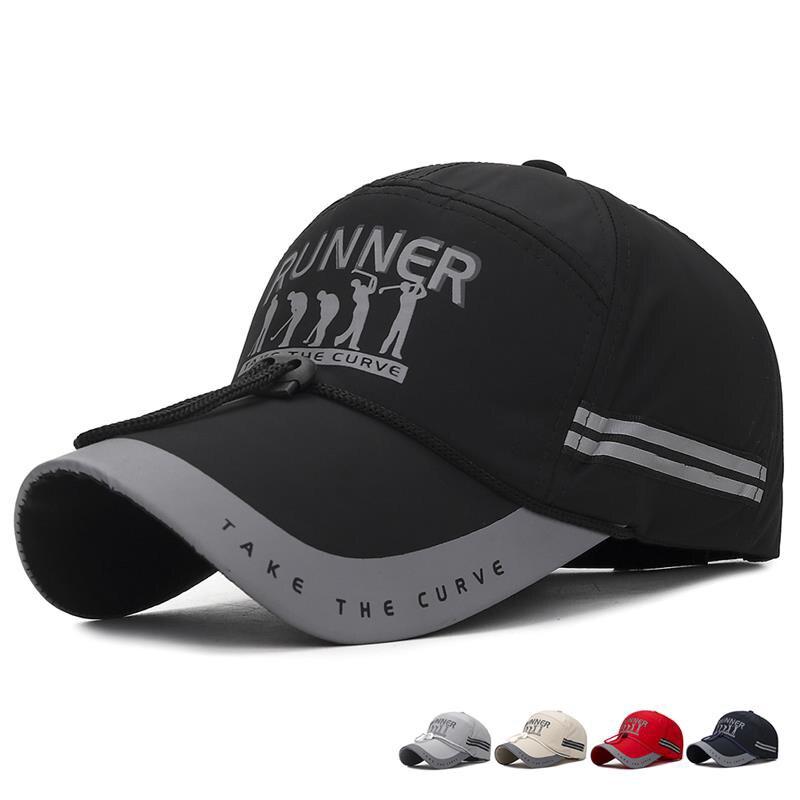 Summer Outdoor Men's   Baseball     Cap   Long Brim Sunscreen Quick-drying Windproof Rope Hat Night Reflective Fishing   Cap